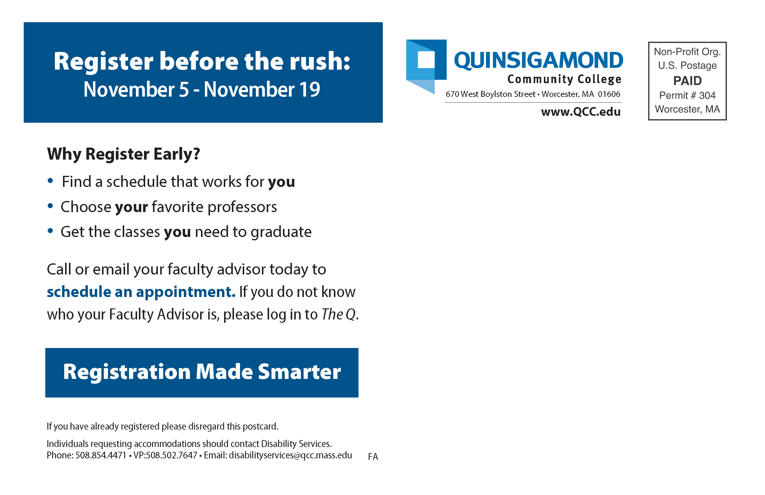 Qcc Academic Calendar.Marketing Collateral Quinsigamond Community College Qcc
