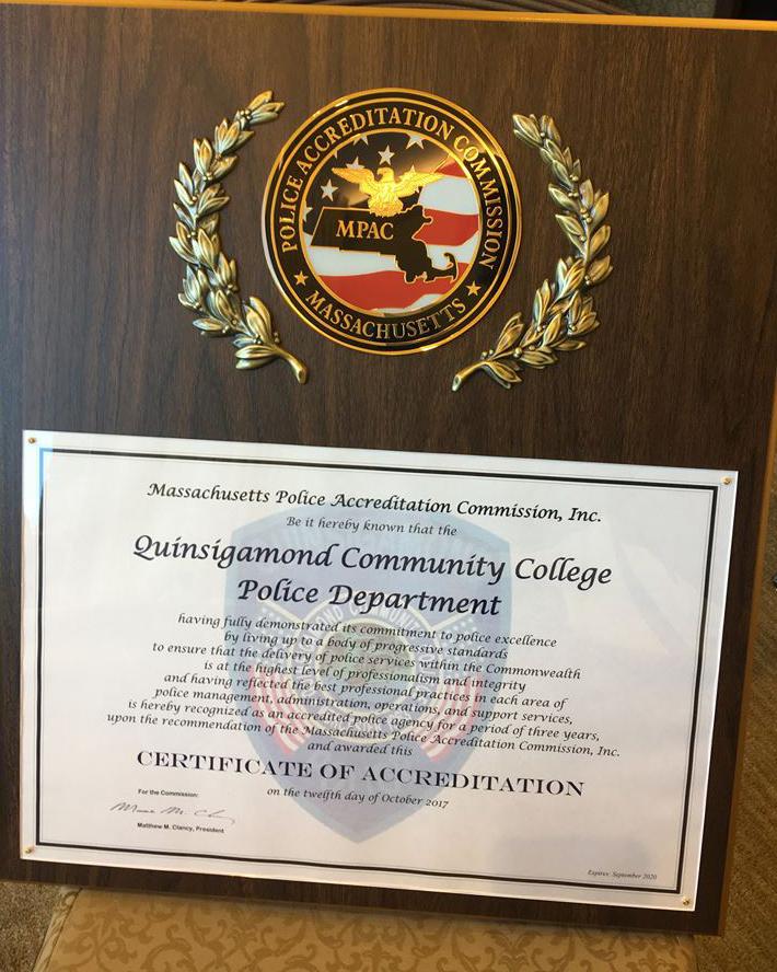 qcc campus police accreditation award