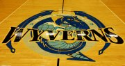 wyverns logo on qcc basketball court