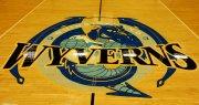 wyverns logo on qcc basketball court