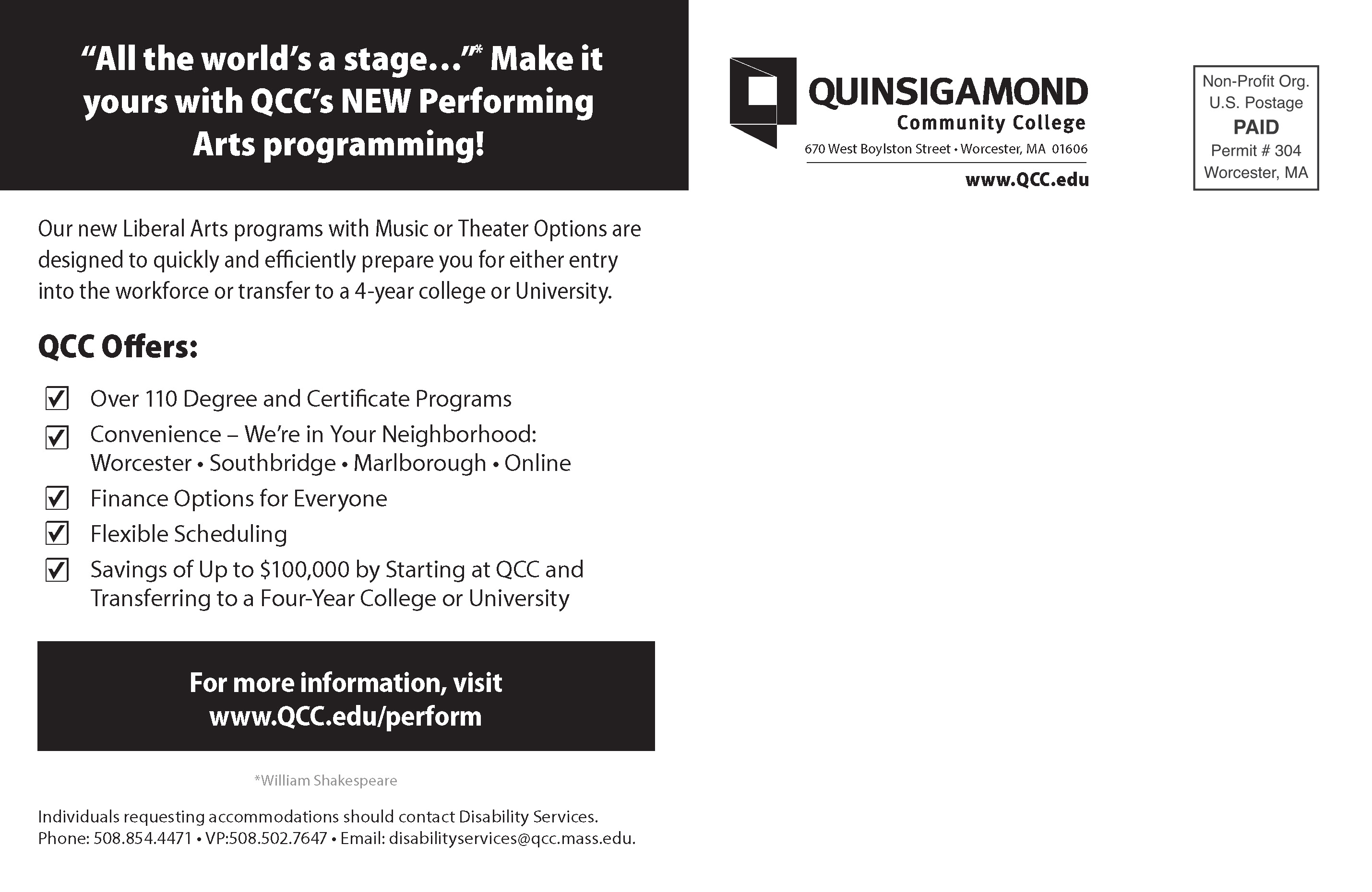 Marketing collateral page 4 quinsigamond community college qcc performing arts postcard performing arts postcard 1betcityfo Images