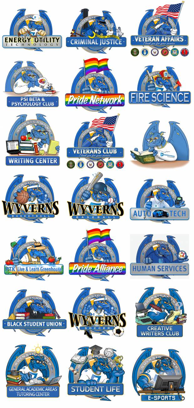 A collection of QCC wyvern logos