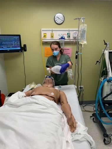QCC Student Ventilating a Patient