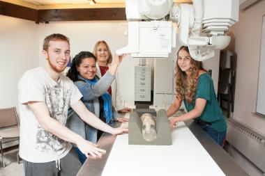 Radiologic Technology students pose in lab