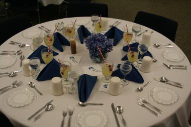 Tables at event arranged by foodservice students