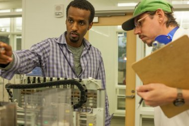 QCC students work in Mechatronics lab