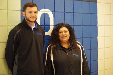 Lisa Gurnick and Josh Cole in the Athletic Center