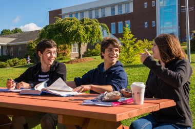 QCC students study on campus