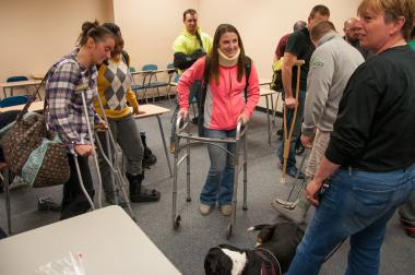 Occupational therapist students meet with patients
