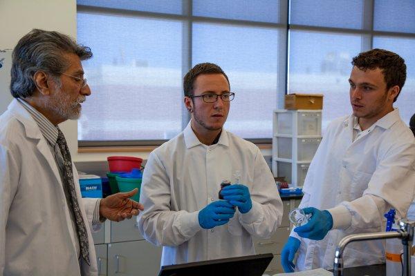 Students practice pharmacy techniques