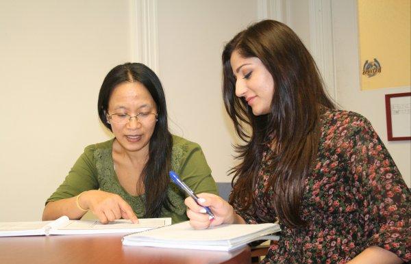 Students study at a desk