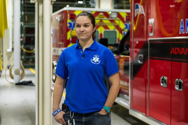 QCC student in fire station