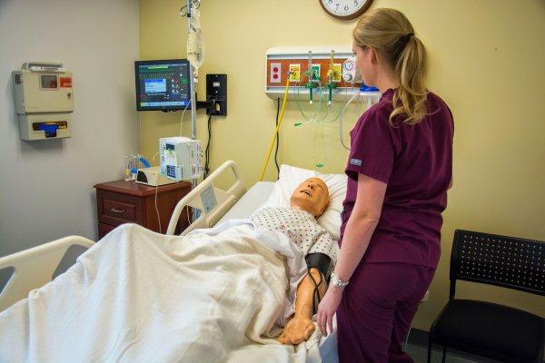 QCC nursing student practices in lab