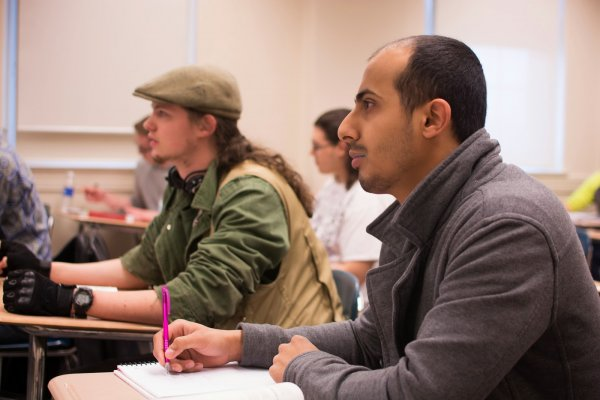 QCC students at desks in classroom