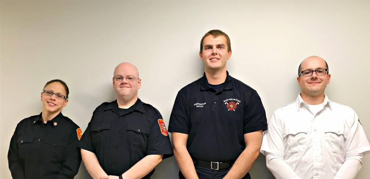 QCC paramedic students from left: Maria Soja, Jay Kersting, Brian Hatch and Ioanis Pintzopoulus