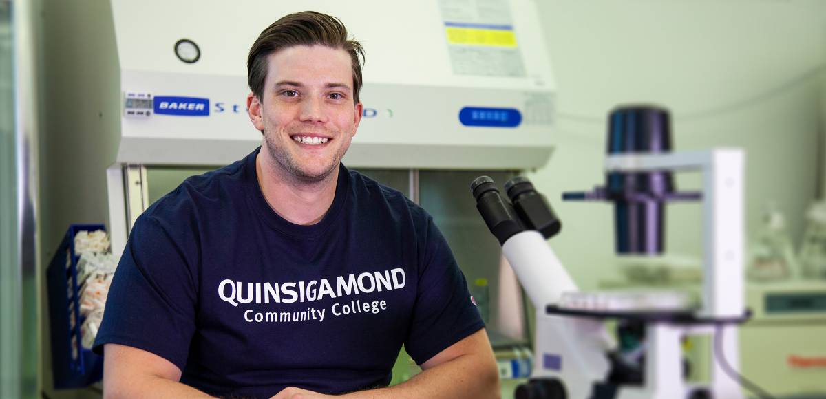 QCC Student in a lab
