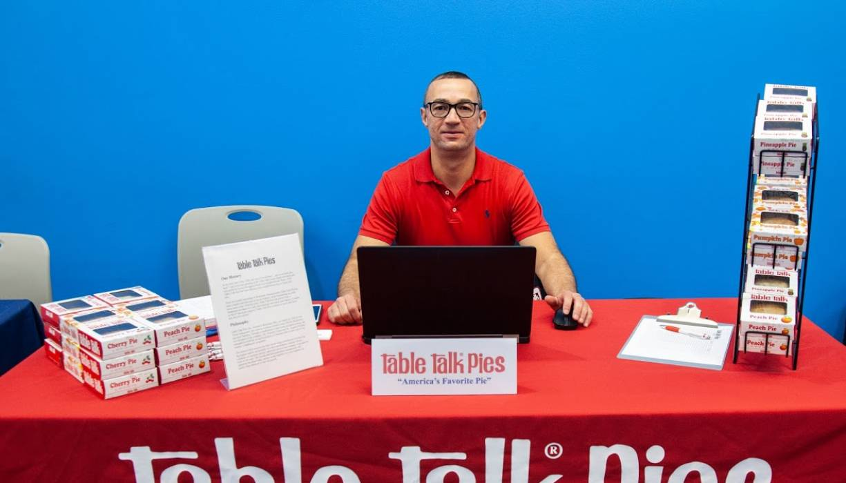 Table Talk Pies was a popular booth at QCC's Job Fair.