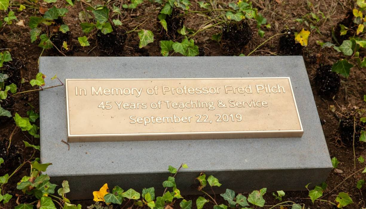 Memorial plaque in honor of the late Fred Pilch.