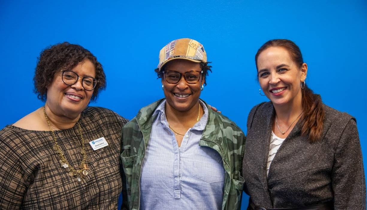 From left: Co-Chair of the Caucus Brenda Safford, Film Director A.B. Webster and Co-Chair of the Caucus Selina Boria.