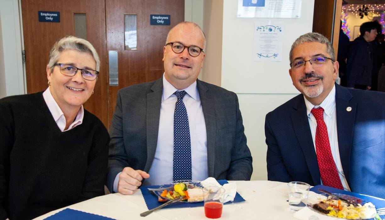 From left:Theresa Vecchio, Dr. James Keane, Dr. Luis Pedraja