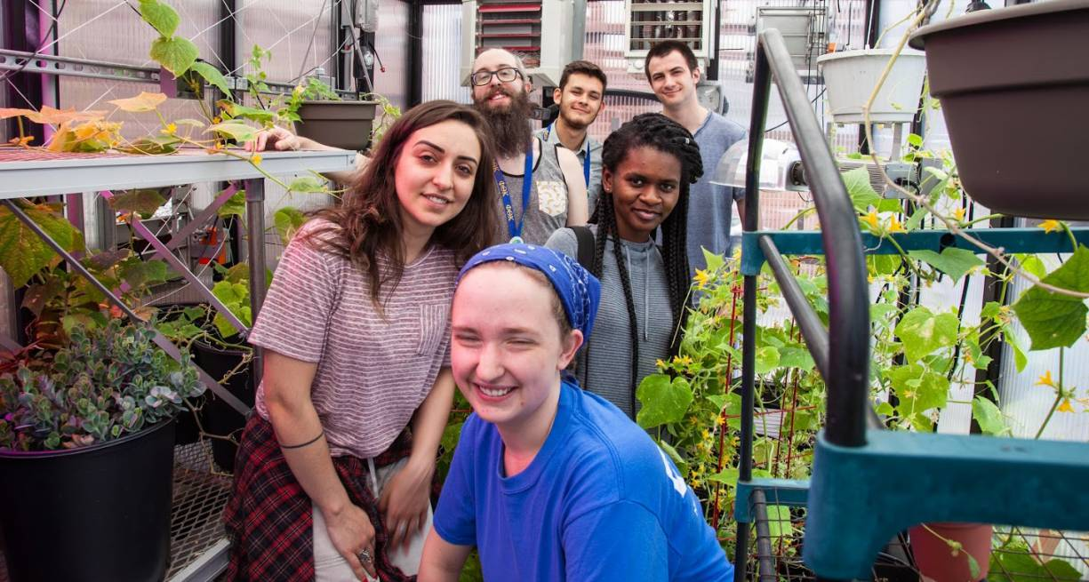 PTK alumni assist current PTK students in the Live & Learn Greenhouse.