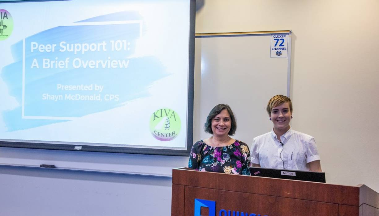 From left: Professor Valerie Clemente with Certified Peer Support Specialist Shayn McDonald.