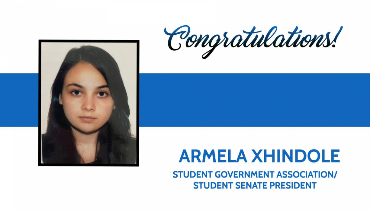 QCC's new Student Government President is Armela Xhindole.