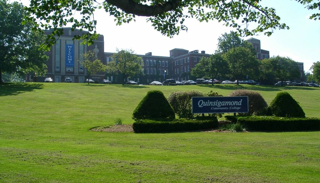 The Administration Building at QCC's main campus in Worcester.