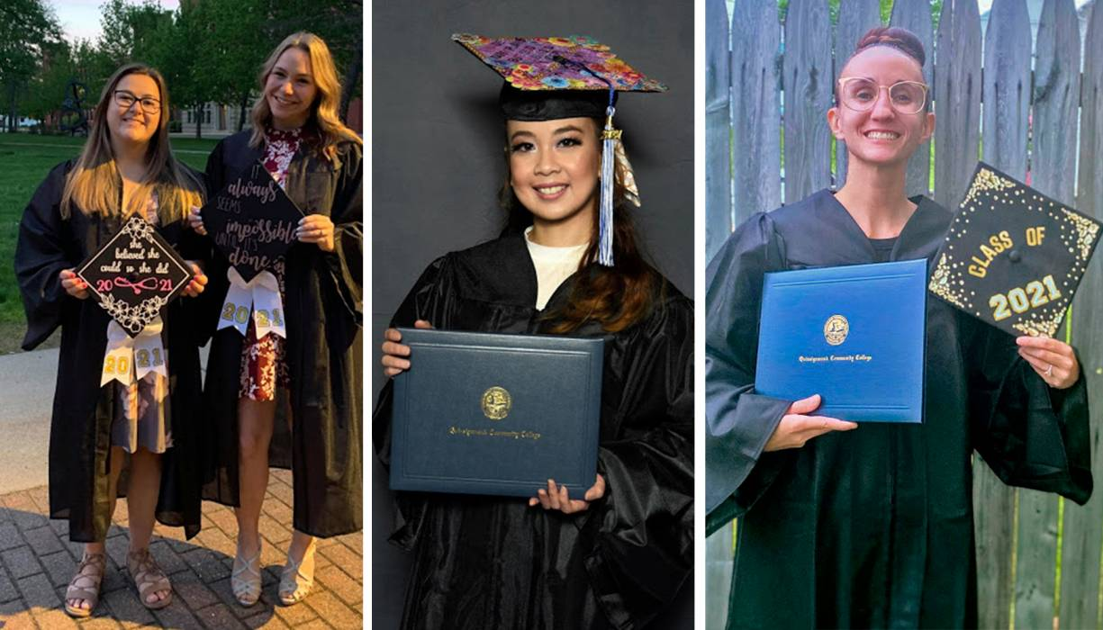 Graduates show their pride in attaining a higher education.