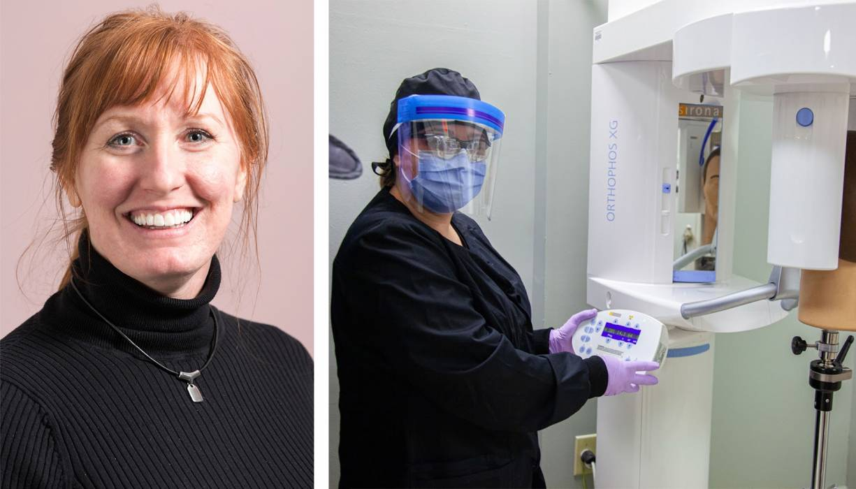 Professor of Dental Assisting and Hygiene, Jennifer McKeon (L). A student prepares to take an X-ray in the College's lab (R).