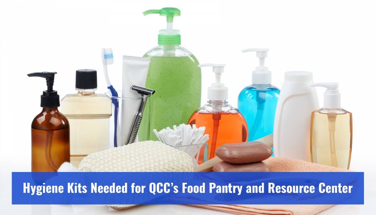 PTK students make hygiene kits for QCC's Food Pantry and Resource Center. The entire QCC community is invited to participate.