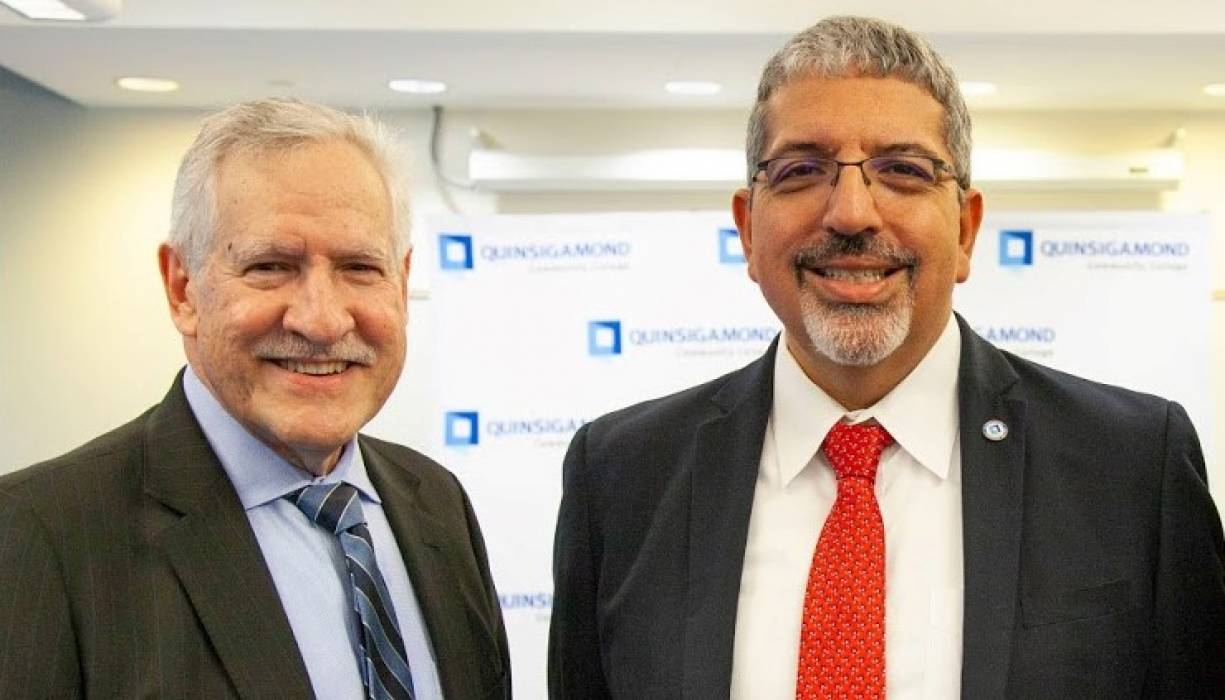 Massachuetts Commissioner of Higher Education Carlos Santiago and QCC President Dr. Luis Pedraja