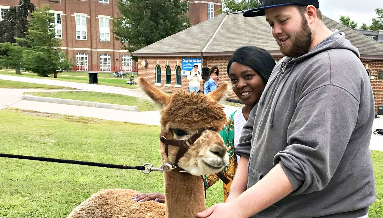 """QCC students enjoy a moment with """"Star."""""""