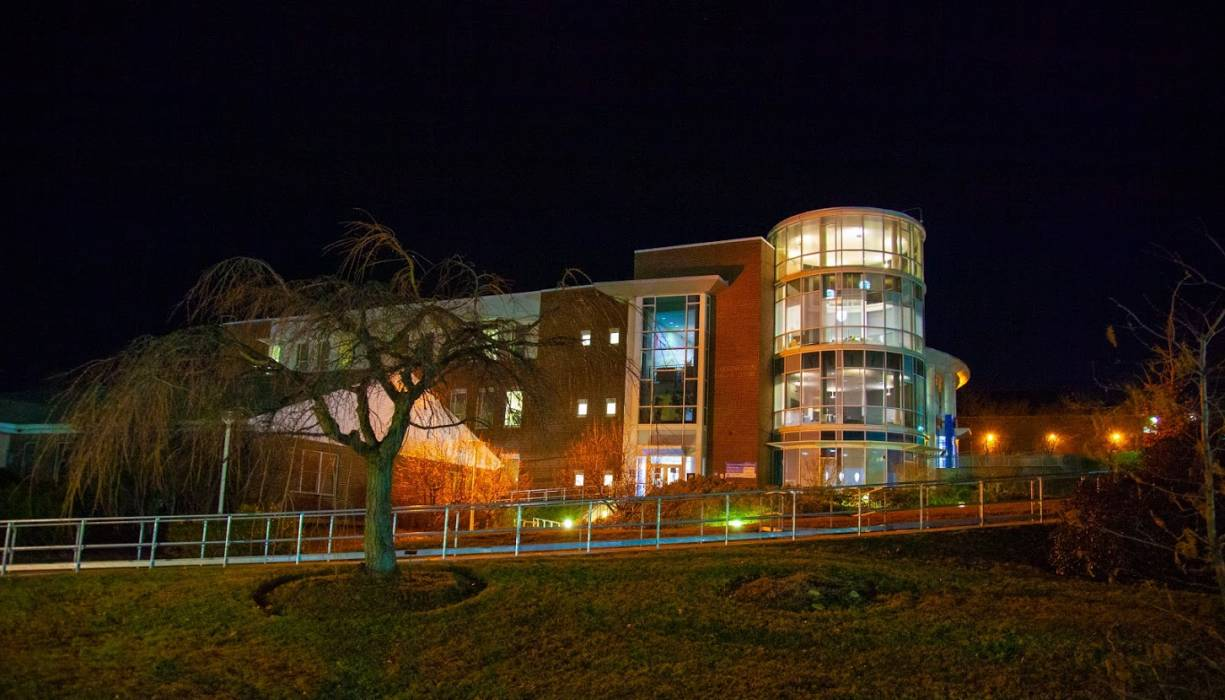QCC's Harrington Learning Center shines brightly as we head into December.