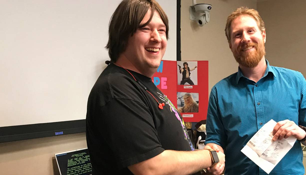 """QCC student Zachary Behrmann receives tickets to the opening of the last Star Wars movie: Episode IX, """"The Rise of Skywalker."""""""