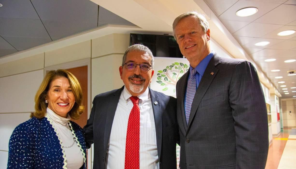 Lt. Governor Karyn Polito, QCC President Dr. Luis Pedraja, Governor Charlie Baker