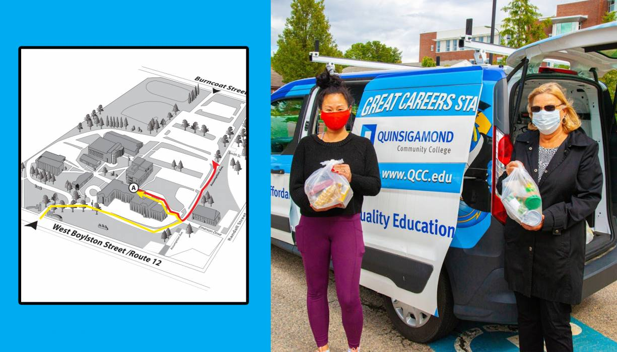 QCC's Food Pantry drive-thru services are being offered in the back the Administration Building for the winter months.