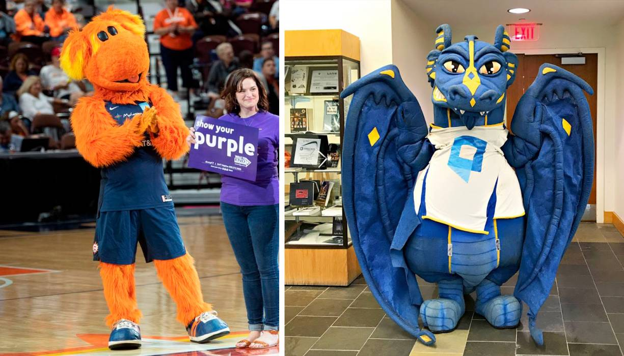 From left: Connecticut Sun WNBA mascot, Blaze looks forward to meeting the QCC Wyvern.