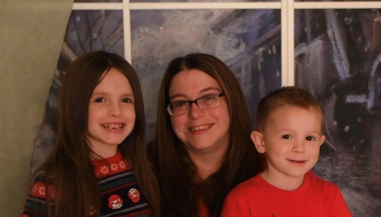Megan Romero and her two children.