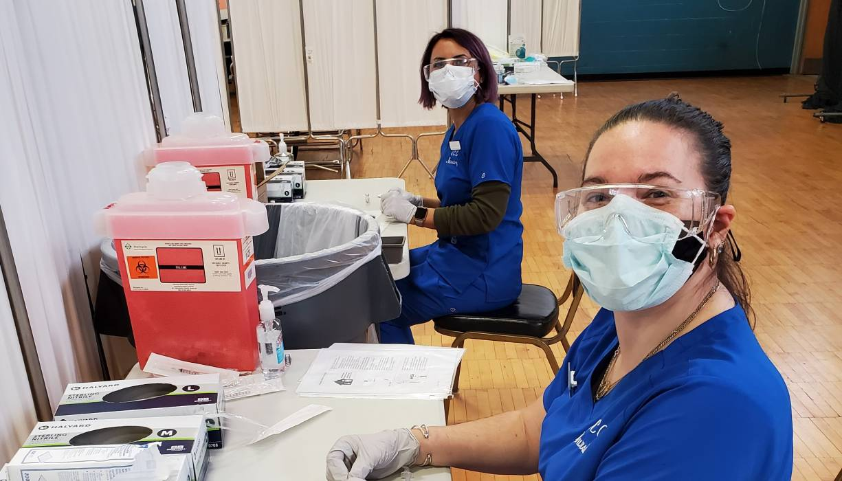QCC Practical Nursing students prepared COVID-19 vaccines last month at the Southbridge Armory.