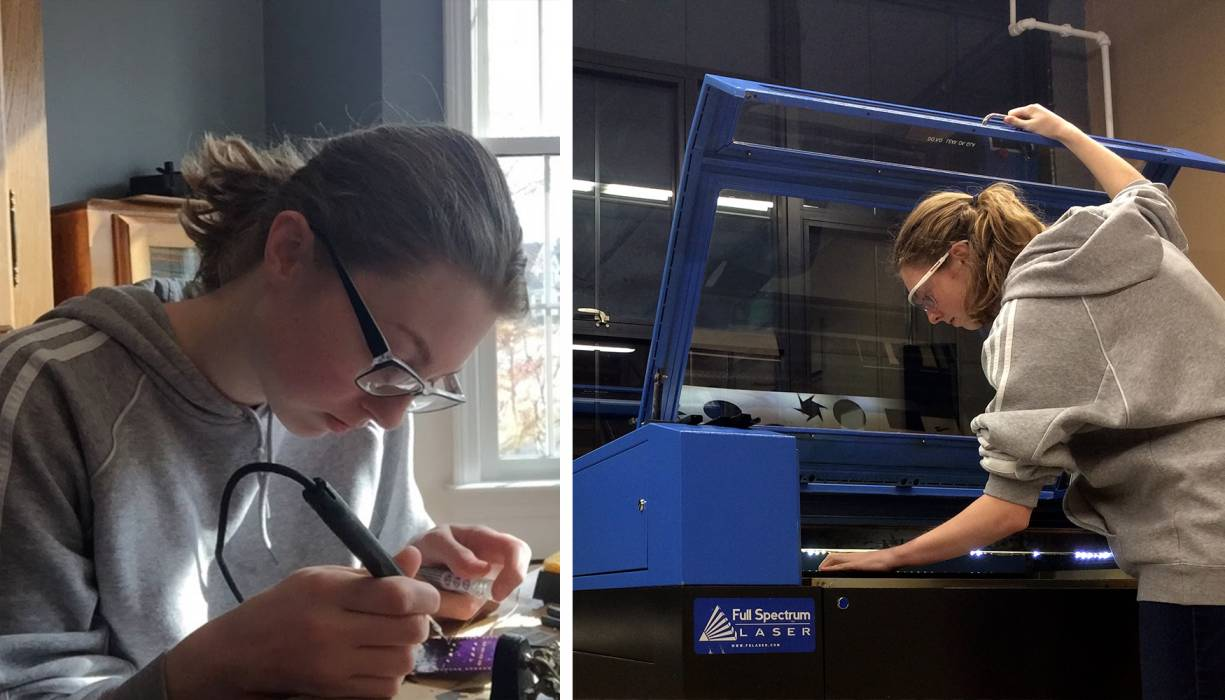 From left: Rebecca Ashmore assembles a printed circuit board. Ms. Ashmore works with a laser cutter at Technocopia.