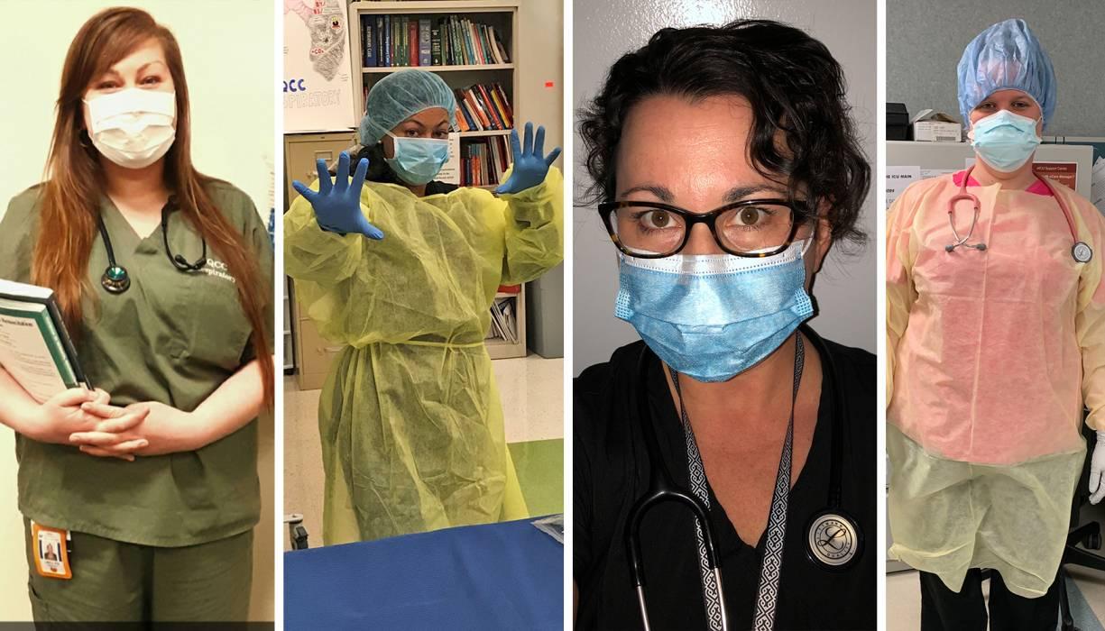 "QCC Respiratory Therapy students from left: Jaclyn Banach, Kiara Still, Allison Foskett and Tiffany ""Tiff"" Wayland."
