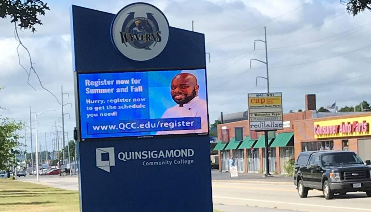 QCC's new digital sign lights up West Boylston Street.