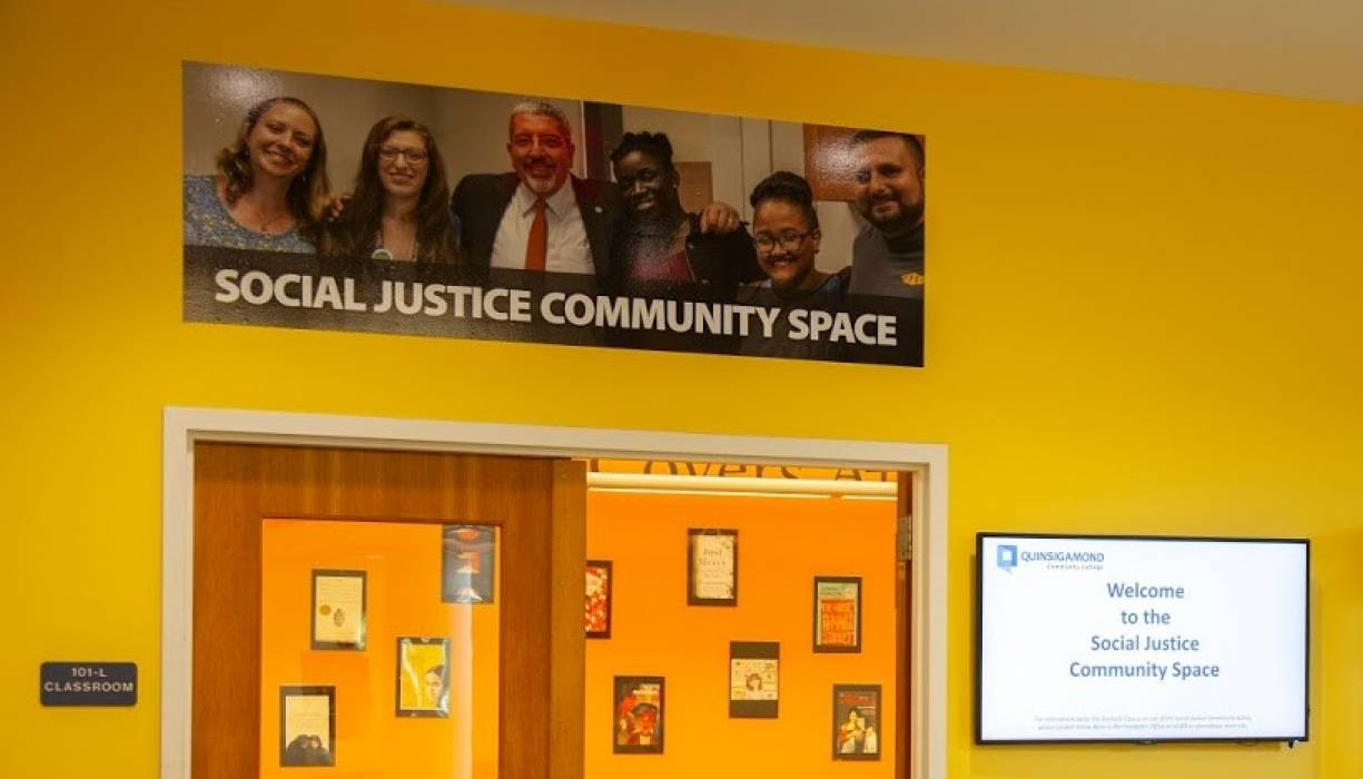 Social Justice Community Space located in the Harrington Learning Center on QCC's main campus.