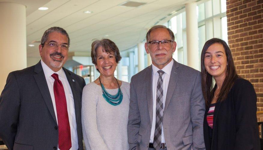 From left: Dr. Luis G. Pedraja; Dean Kathy Rentsch; COO Steve Marini and QCC alumni Stephanie Teixteria.