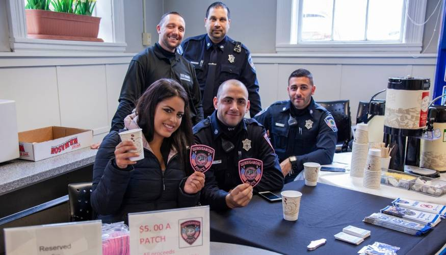 Students were treated to free coffee and conversation by QCC's Campus Police.