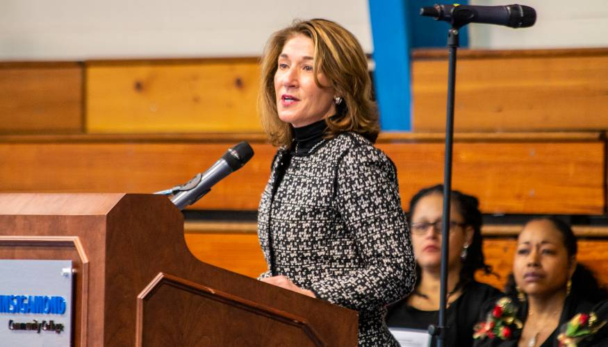 Lt. Governor Karyn Polito commends President Pedraja for his leadership at the MLK Community Breakfast.