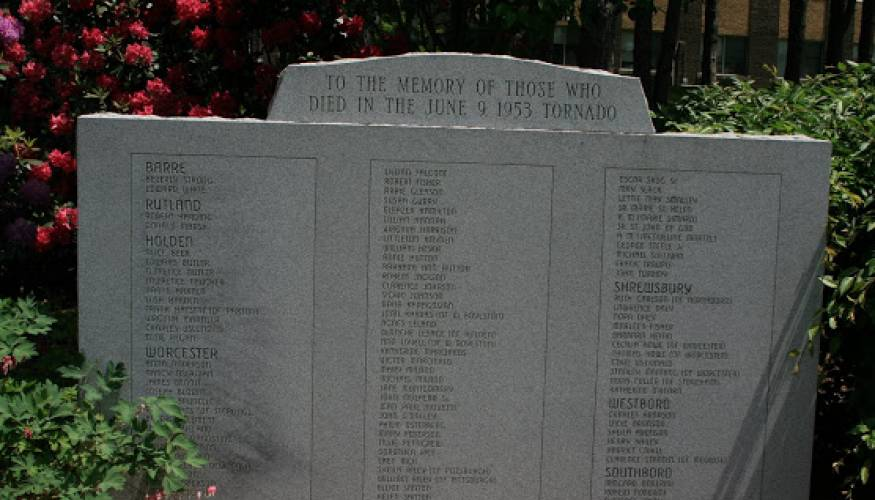 A memorial to those who lost their lives in the June 9, 1953 tornado is located on QCC's main campus.