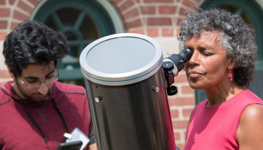 QCC Telescopes offered safe viewing of the solar event.