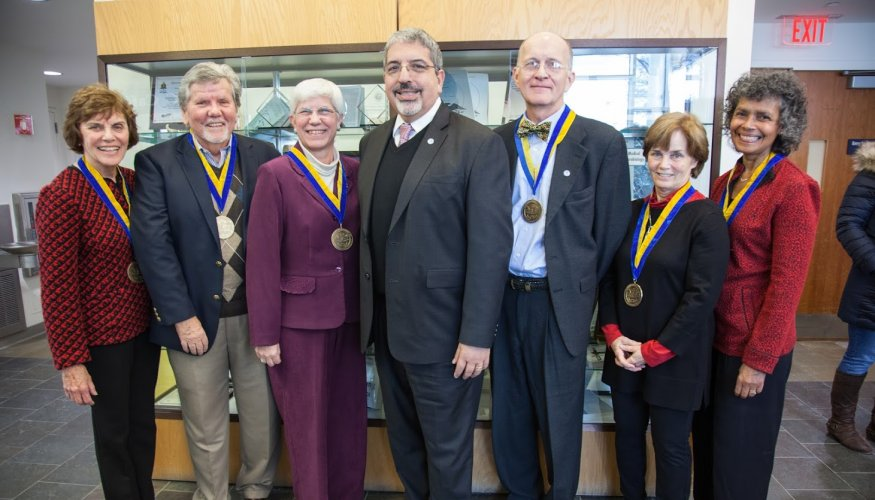 From left: Jane Shea, Don Hall Anita Bowden, QCC President Dr. Luis Pedraja, Bill Daring, Tara Fitzgerald-Jenkins and Maria Addison.